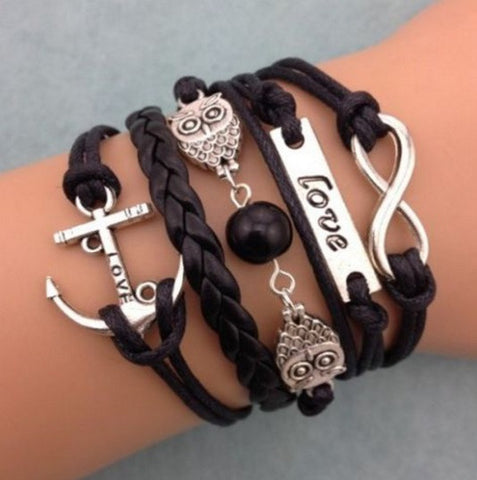 Lovely Leather Owl Bracelet