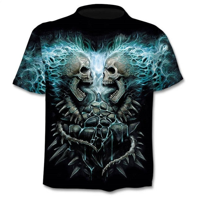 Head To Head Skulls 3d T Shirt