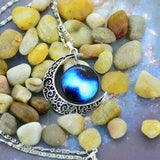 Beautiful Blue Moon Chain Necklace