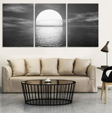 Full Moon Night Painting On Canvas 3 Pcs Wall Art