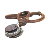 Cool 3 Coins Genuine Leather Choker