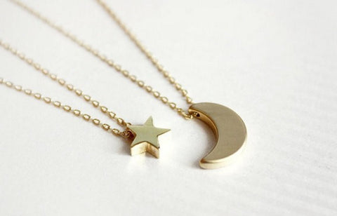 Double Chain Star & Crescent Moon Amazing Pendant Necklace