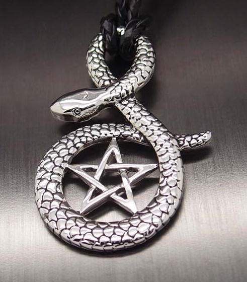 Cobra Snake Pentagram Star Pendant Necklace