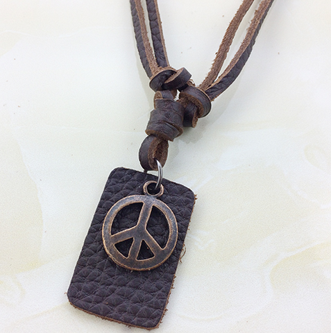 Peace Symbol Genuine Leather Surfer Chain