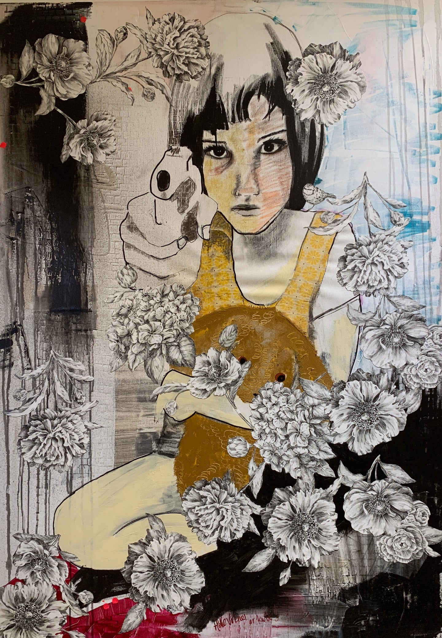 Girl With a Gun, 100x140 cm