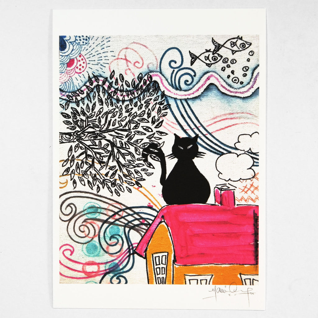 Cat on the Roof (Art Print) , #THATBLACKCAT , Prints - 2