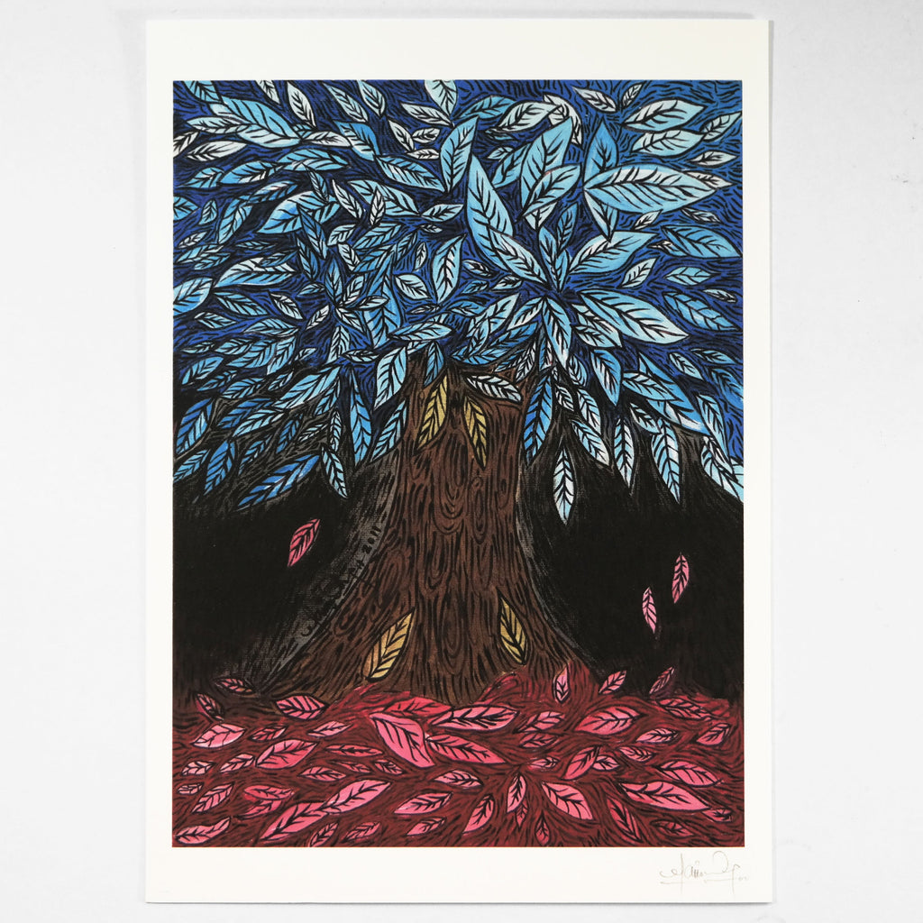 Blue Leaves (Art Print) , #THATBLACKCAT , Prints - 2