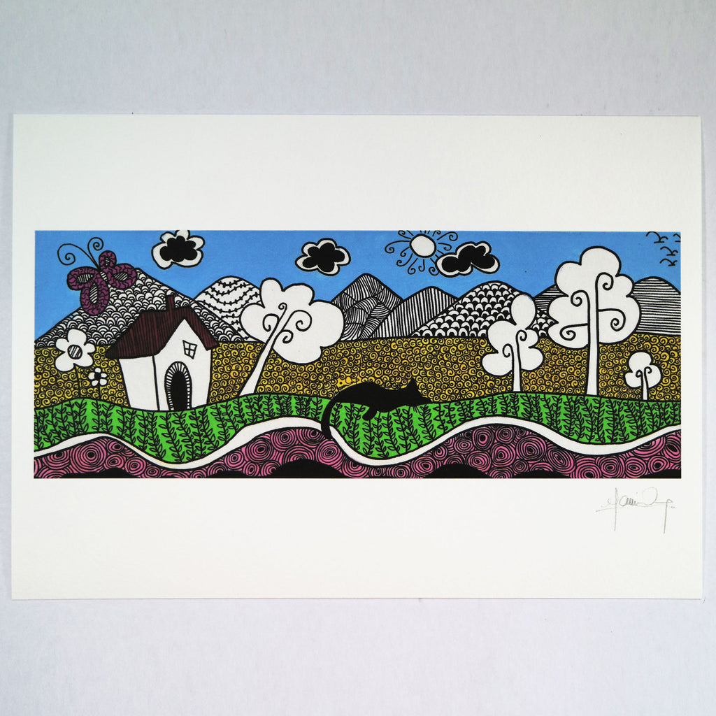 Napping Under the Blue Sky (Art Print) , #THATBLACKCAT , Prints - 3