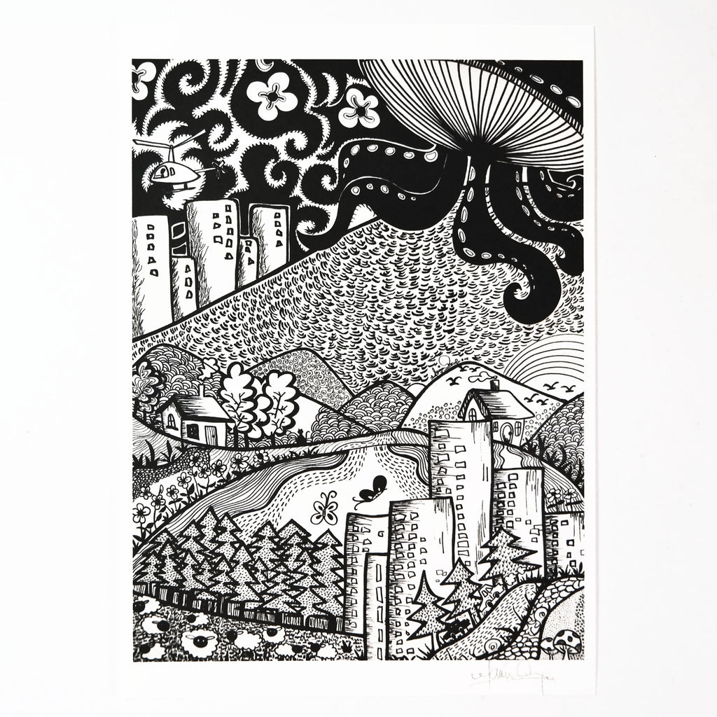 Octo City (Art Print) , #THATBLACKCAT , Prints - 3