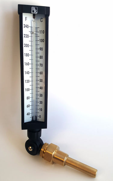 "9"" Scale Adjustable Angle Type Industrial Grade Thermometer Model BR9A35 , Thermowell, NWIM"