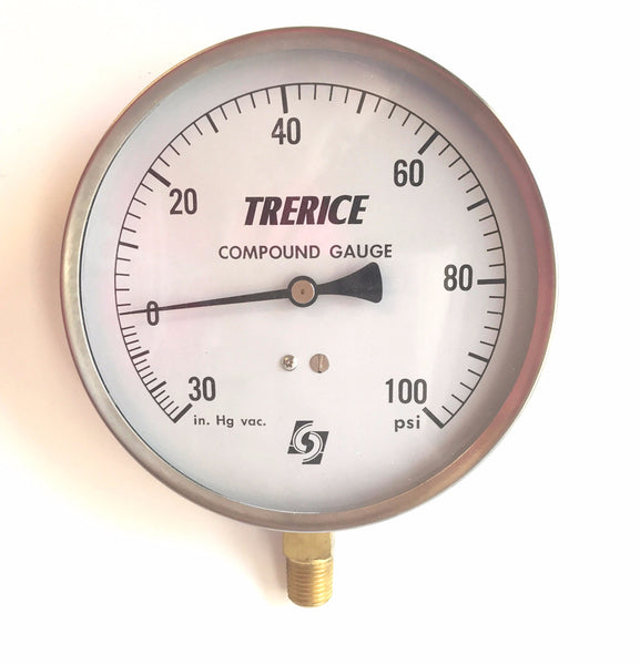 "4.5"" Trerice Compound Gauge 30"" HG VAC/100PSI"