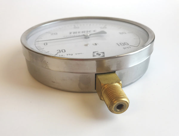 "4.5"" Trerice Compound Gauge 30"" HG VAC/100PSI , Compound Gauge, NWIM"