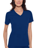 Cherokee V-Neck Knit Panel Top 1909 Galaxy Blue GABB