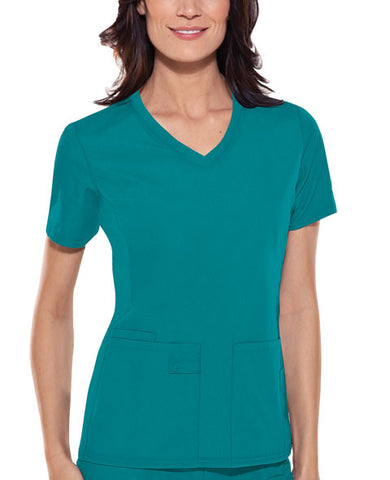Cherokee V-Neck Knit Panel Top 1909 Teal Blue TELB