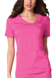 Cherokee Crossover V-Neck Pin-Tuck Top 1999 Fuchsia Rose ROSV