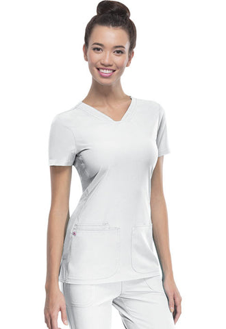 "HeartSoul ""Pitter-Pat"" Shaped V-Neck Top 20710 White WHIH"