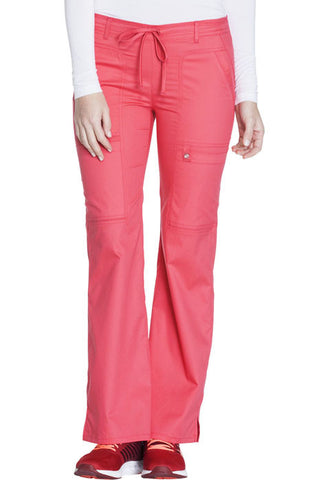 Cherokee Low Rise Flare Leg Drawstring Cargo Pant  Petite 21100P Fire Coral FICL