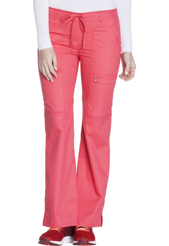 Cherokee Low Rise Flare Leg Drawstring Cargo Pant 21100 Fire Coral FICL