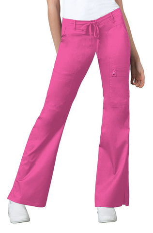 Cherokee Low Rise Flare Leg Drawstring Cargo Pant 21100 Fuchsia Rose ROSV