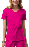 Cherokee Workwear V-Neck Top 24703 Shocking Pink SHPW