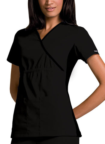 Cherokee Mock Wrap Knit Panel Top 2500 Black BLKB