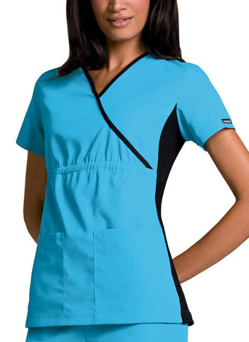 Cherokee Mock Wrap Knit Panel Top 2500 Turquoise TRQB