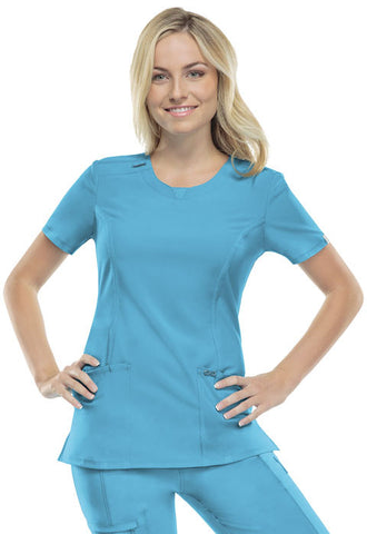 Cherokee Round Neck Top 2624A Turquoise TRQ