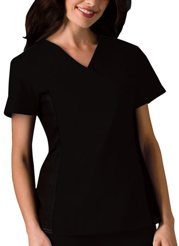 Cherokee V-Neck Knit Panel Top 2874 Black BLKB