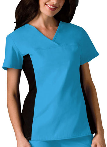 Cherokee V-Neck Knit Panel Top 2874 Turquoise TRQB