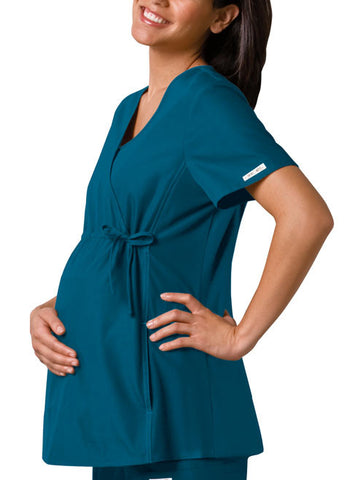 Cherokee Maternity Mock Wrap Knit Panel Top 2892 Caribbean CABB