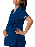 Cherokee Maternity Mock Wrap Knit Panel Top 2892 Navy NVYB
