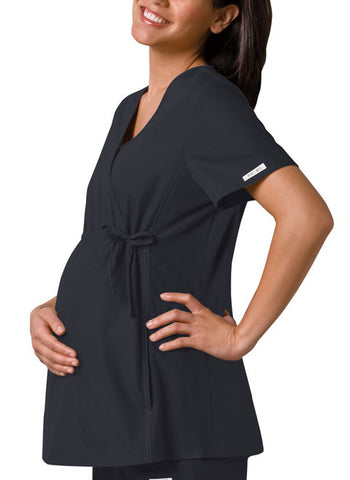 Cherokee Maternity Mock Wrap Knit Panel Top 2892 Pewter PWTB