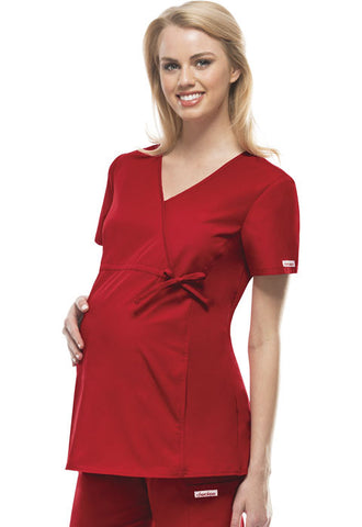 Cherokee Maternity Mock Wrap Knit Panel Top 2892 Red REDB