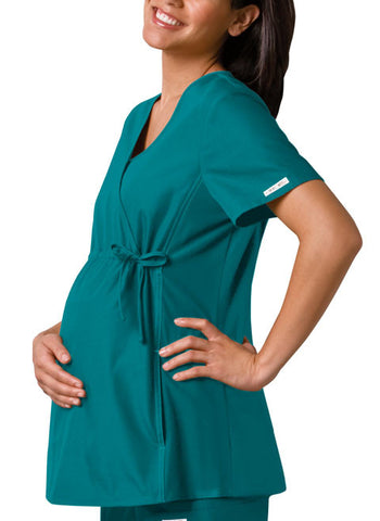 Cherokee Maternity Mock Wrap Knit Panel Top 2892 Teal Blue TELB