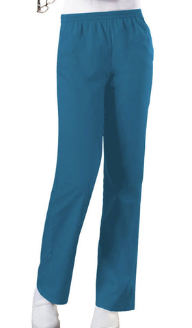 Cherokee Workwear Natural Rise Tapered Leg Pull-On Pant  Petite 4001P Caribbean Blue CARW