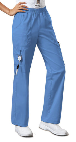 Cherokee Workwear Mid Rise Pull-On Pant Cargo Pant  Petite 4005P Ciel CIEW