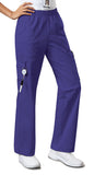 Cherokee Workwear Mid Rise Pull-On Pant Cargo Pant  Petite 4005P Grape GRPW