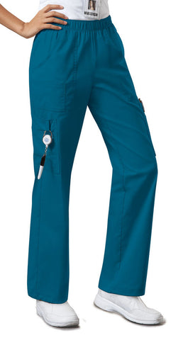 Cherokee Workwear Mid Rise Pull-On Pant Cargo Pant 4005 Caribbean Blue CARW