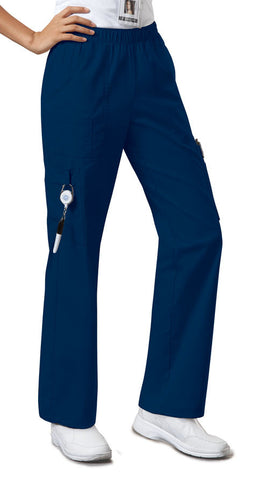 Cherokee Workwear Mid Rise Pull-On Pant Cargo Pant 4005 Navy NAVW