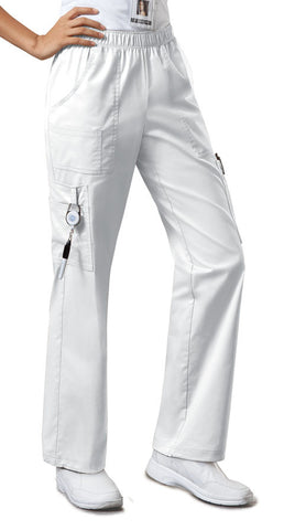 Cherokee Workwear Mid Rise Pull-On Pant Cargo Pant 4005 White WHTW