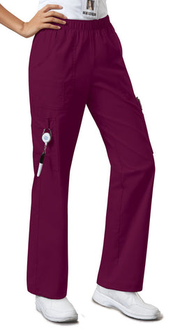 Cherokee Workwear Mid Rise Pull-On Pant Cargo Pant 4005 Wine WINW