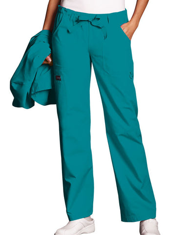 Cherokee Workwear Low Rise Drawstring Cargo Pant 4020 Teal Blue TLBW