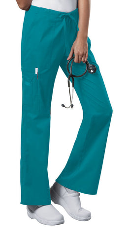 Cherokee Workwear Mid Rise Drawstring Cargo Pant  Tall 4044T Teal Blue TLBW