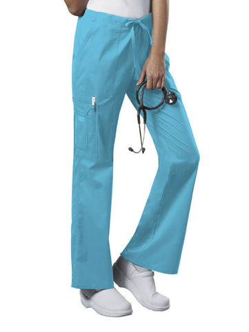 Cherokee Workwear Mid Rise Drawstring Cargo Pant  Tall 4044T Turquoise TRQW