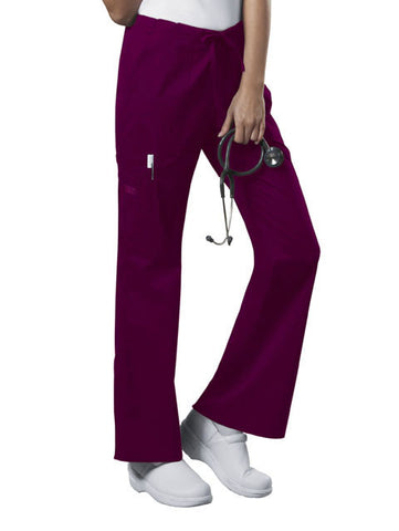 Cherokee Workwear Mid Rise Drawstring Cargo Pant  Tall 4044T Wine WINW