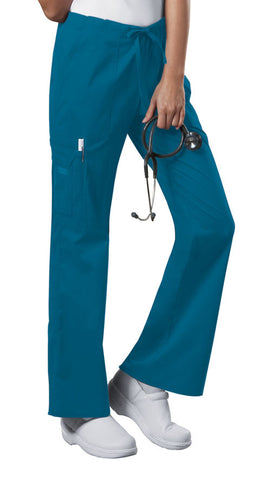 Cherokee Workwear Mid Rise Drawstring Cargo Pant 4044 Caribbean Blue CARW