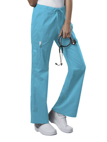 Cherokee Workwear Mid Rise Drawstring Cargo Pant 4044 Turquoise TRQW