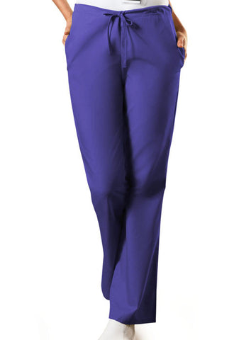 Cherokee Workwear Natural Rise Flare Leg Drawstring Pant  Tall 4101T Grape GRPW