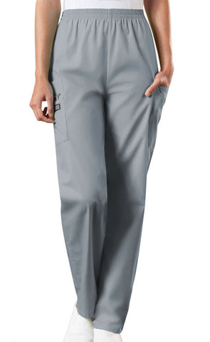 Cherokee Workwear Natural Rise Tapered LPull-On Cargo Pant  Petite 4200P Grey GRYW