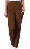 Cherokee Workwear Natural Rise Tapered LPull-On Cargo Pant 4200 Chocolate CHCW